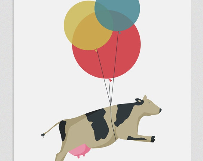"""Ilustración """" Vaca voladora """"."""