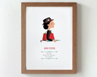 """Ilustración """"Mary Poppins"""". Basada en la película de Robert Stevenson."""
