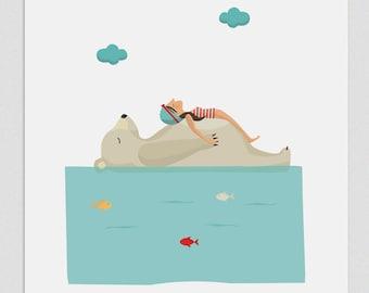 """Ilustración """" Relax en el Polo Norte """"."""