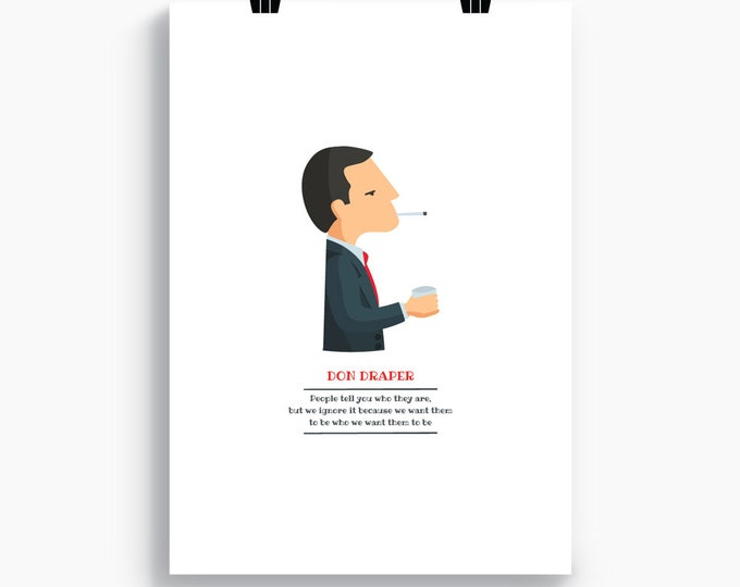 "Ilustración ""Don Draper"". Protagonista de la serie de TV 'Mad Men'."