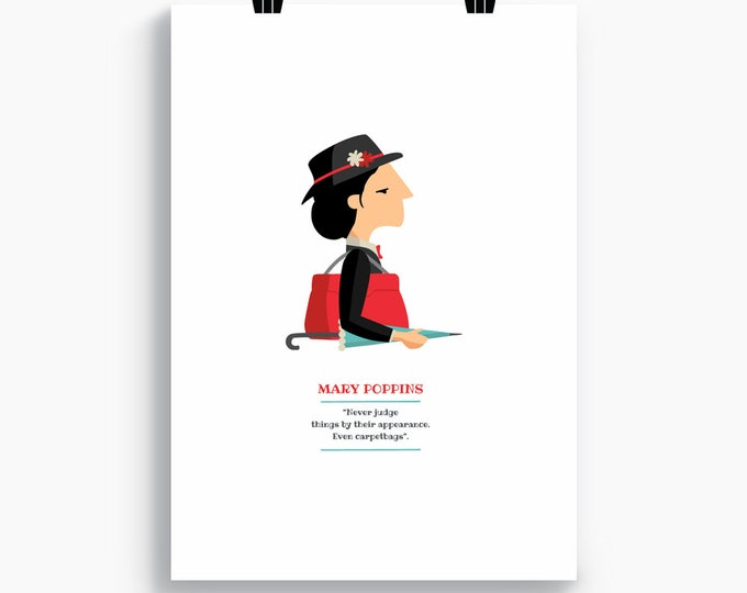 "Ilustración ""Mary Poppins"". Basada en la película de Robert Stevenson, Tutticonfetti."