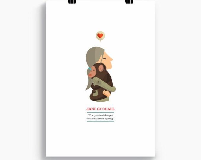 "Ilustración ""Jane Goodall""."