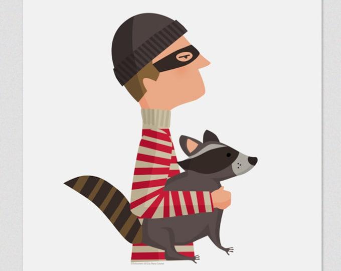 """Ilustración """" Caco y mapache """"."""