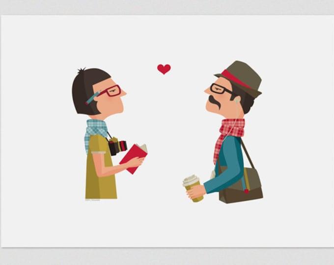 "Ilustración "" Amor Hipster ""."