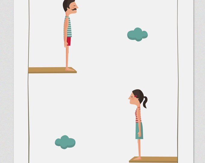 """Ilustración """" Salto al vacío (en pareja) """"."""