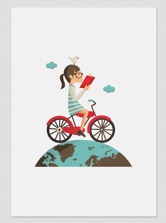 """Ilustración """"Leer en bicicleta """"."""