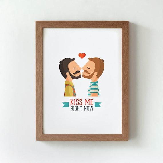 """Ilustración """" Kiss Me (ellos)""""."""