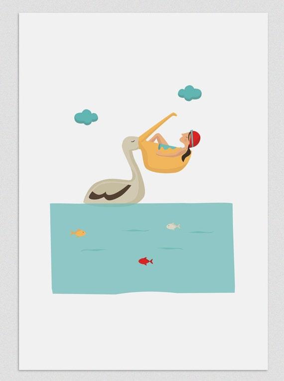 "Ilustración "" Siesta con pelícano ""."