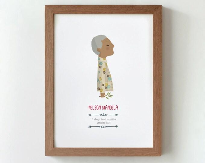 """Ilustración """"Nelson Mandela""""."""