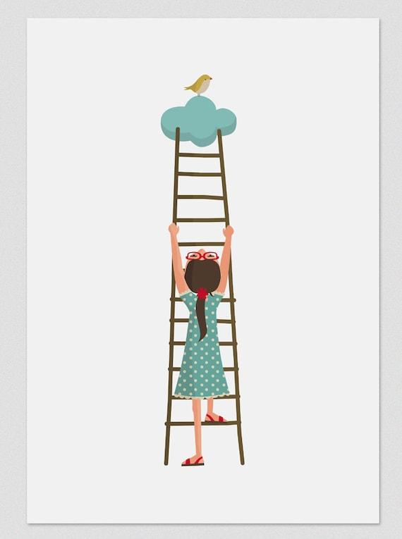 """Ilustración """"Escalando a las nubes""""."""