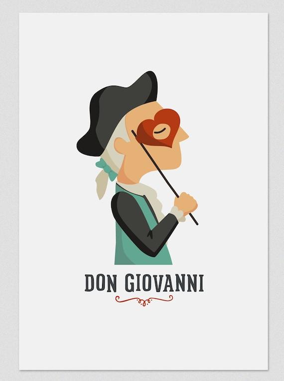 """Ilustración """" Don Juan """". Según la ópera de Mozart."""