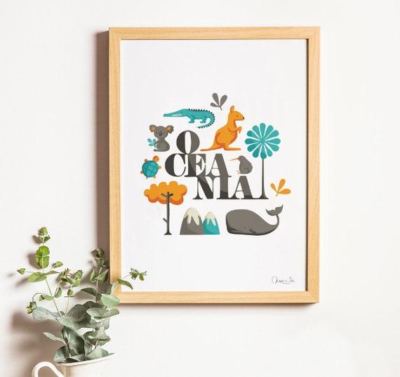 """Ilustración """" Oceanía """"."""