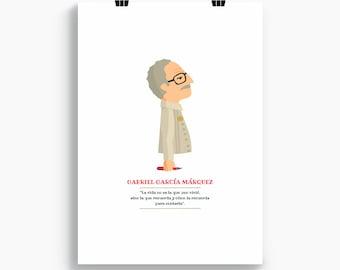 Gabriel García Márquez print, Illustration to Decorate your Home, Custom Gift, Tutticonfetti.