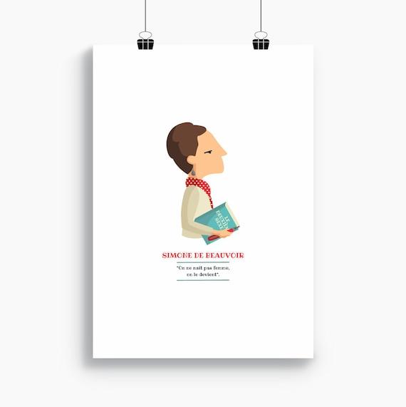"""Ilustración """"Simone de Beauvoir""""."""