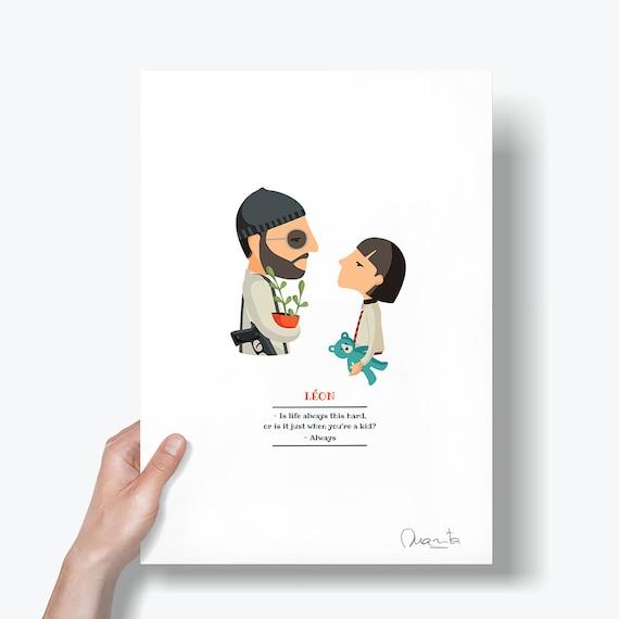 """Ilustración """"León, el profesional"""". Basada en la película de Luc Besson"""