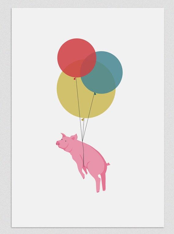"""Ilustración """" Cerdo volador """"."""