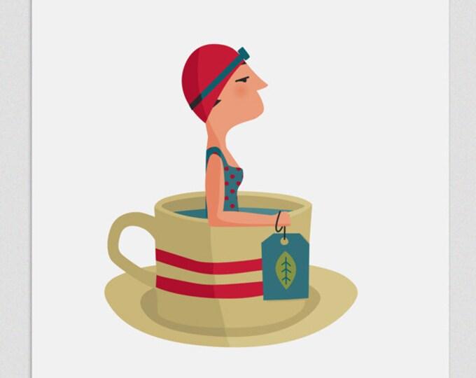 """Ilustración """"Nadadora en té""""."""