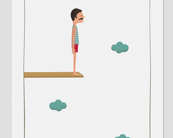 """Ilustración """"Salto al vacío (él)""""."""