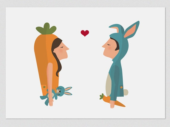 """Ilustración """" Conejo y Zanahoria """"."""