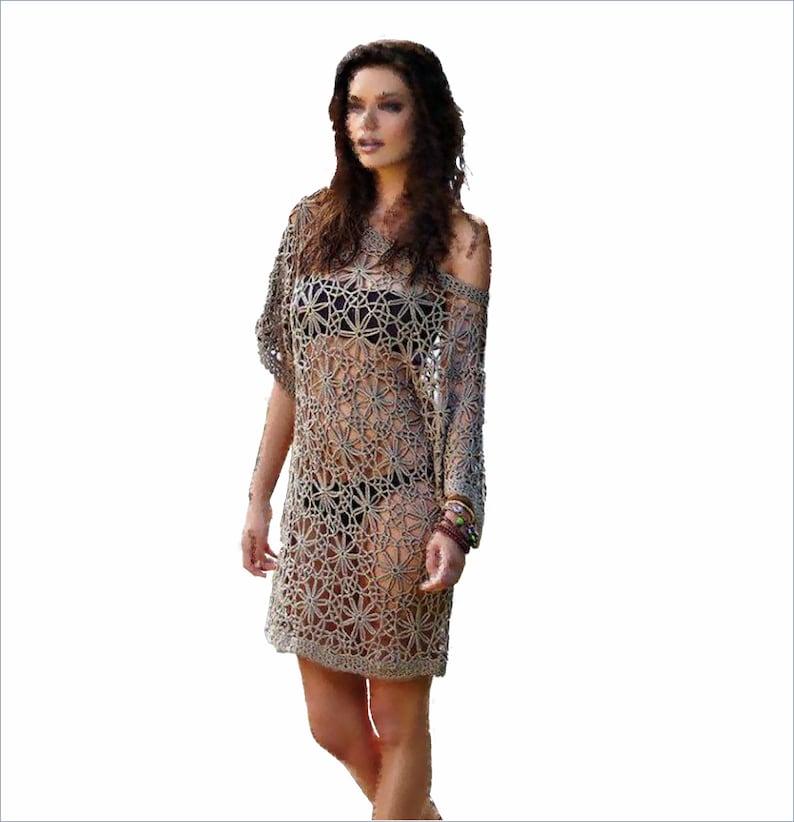 d6a01fe3949b Beach lace dress pattern xxl beach cover ups in coffee brown