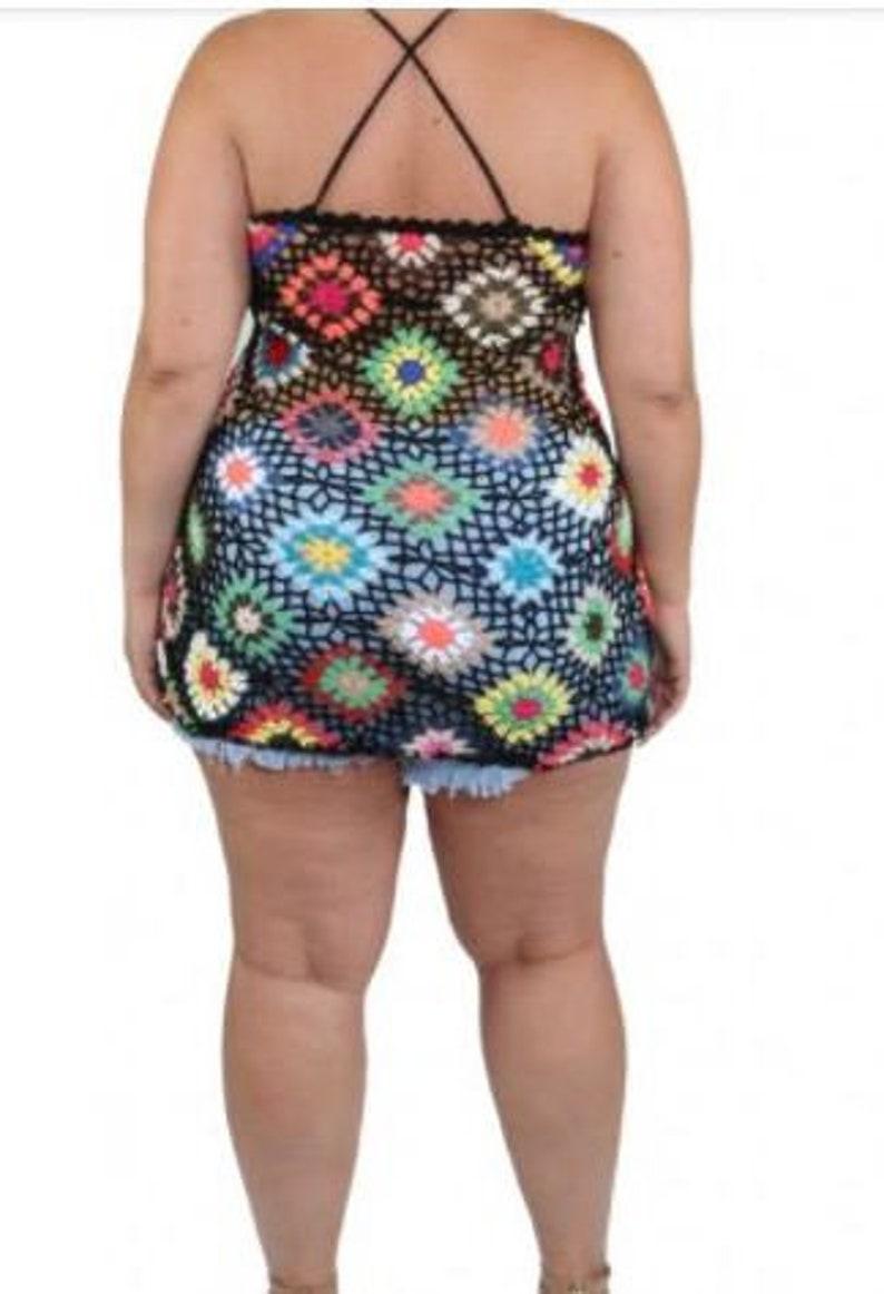 XL L M Crochet halter top granny pattern Beach cover up sizes S