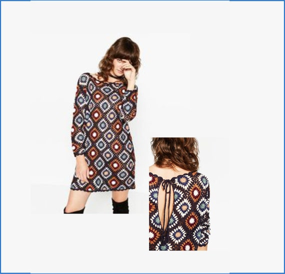 Granny square dress pattern Plus size crochet sweater Backless Size XS S