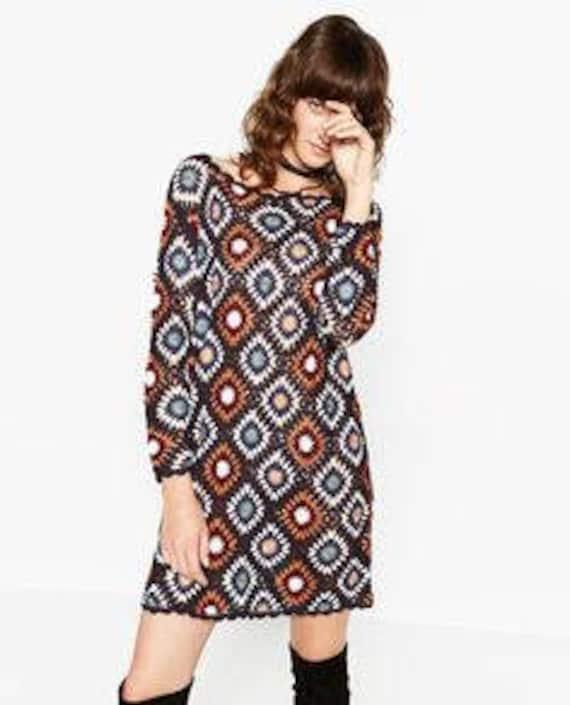 Granny square crochet top pattern Plus size crochet sweater Backless Size  2XL 3XL 4XL