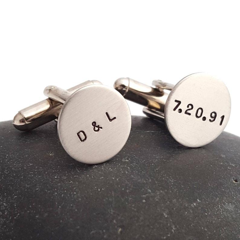Initials and Date Custom Cuff Links Personalized Cufflinks