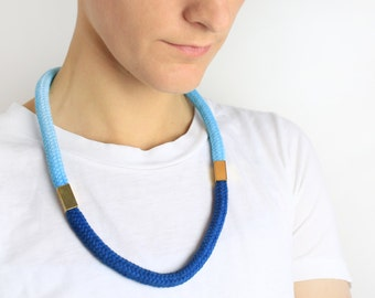 Two Tone Aqua - Cord necklace with beads