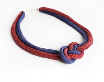 Two Tone Necklace in Marsala and Navy blue