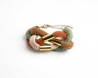 Cotton cord cuff in grey, rust, olive and beige with beads