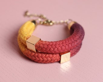 Ombré Bracelet in yellow, red and purple with beads