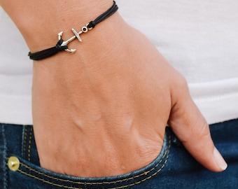 Anchor bracelet, black multi-cord bracelet with a silver plated anchor charm, nautical jewelry, minimalist jewelry, sailor, sea, beach jewel