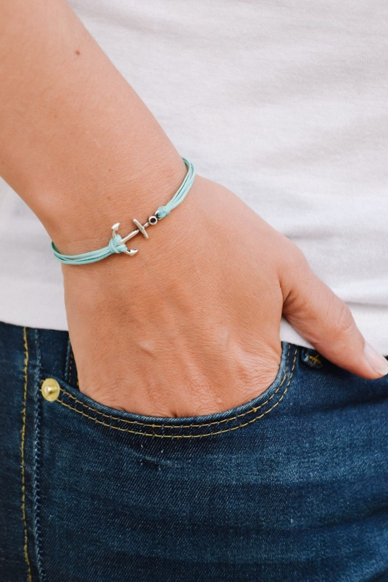 minimalist jewelry turquoise strings Anchor bracelet nautical jewelry sailor multi-cord bracelet with a silver plated anchor charm sea