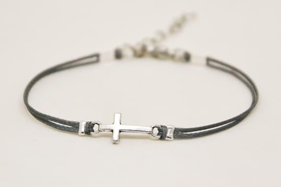 Konfirmation Geschenk Kreuz Armband Mädchen Mit Silber Kreuz Anhänger Christlicher Katholischer Schmuck Graue Kabel Geschenk Für Schwester Oder