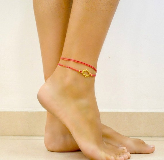 Judaica Shani /& Adi Jewelry Pink Hamsa Anklet Protects from Evil Eye Bright Pink Cord Ankle Bracelet wrap Cord Anklet with Gold Hamsa Charm Luck Gift
