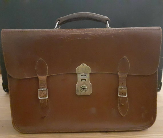 50s/60s leather briefcase/document holder