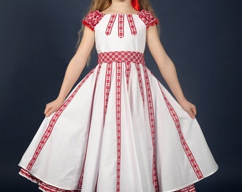011b8d1874 SALE Ukrainian embroidery Dress for girls. Trendy dress with a belt.  Vyshyvanka. Ukrainian children s dress