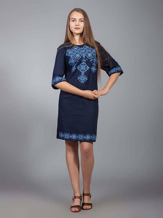 f1000e79465 NEW Ukrainian COLLECTION 2018 Vyshyvanka linen dress