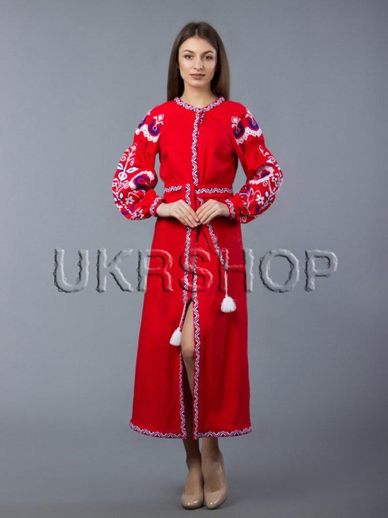 00d9b186977 Vyshyvanka dress 100% linen Ukrainian cross-stitch