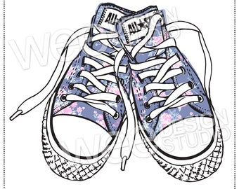 5dda7822af2746 FLORAL chic CONVERSE sneakers digital clipart sketch - png jpeg   eps  (personal or commercial use)