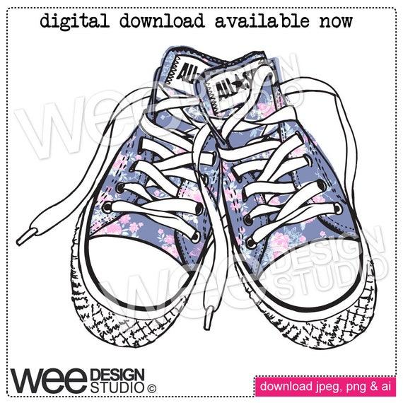 persona Disparidad Desierto  FLORAL chic CONVERSE sneakers digital clipart sketch png | Etsy