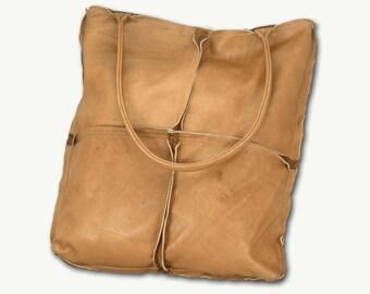 light brown genuine leather shoulder bag- brown matte large tote handbag-leather bag for women-brown bag for women