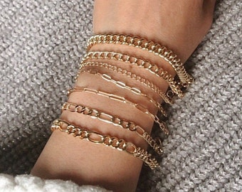 7 Chain Bracelets: 7 beautiful gold-filled link chains in variety of sizes and shapes
