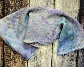 SOCK BLANK 80/20 Merino/Nylon, Dregs, blue, grey, gray, violet,  purple, teal, turquoise, OOAK