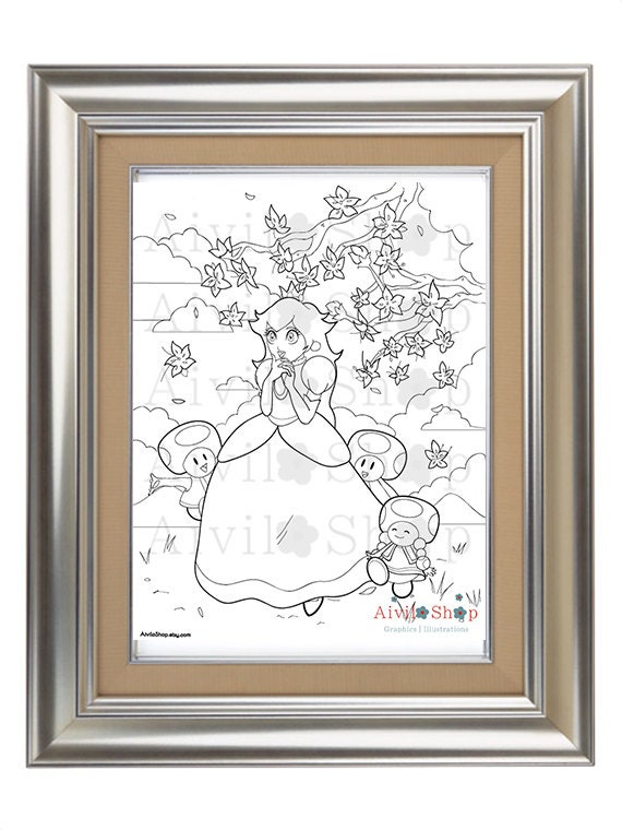Princess Peach Coloring Page Sale Super Mario Toad Stool Children Coloring Adult Coloring Page Color Download Color Therapy