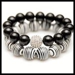 One of a Kind! Ying and Yang Bracelet Set! Onyx and Resin Bracelets!