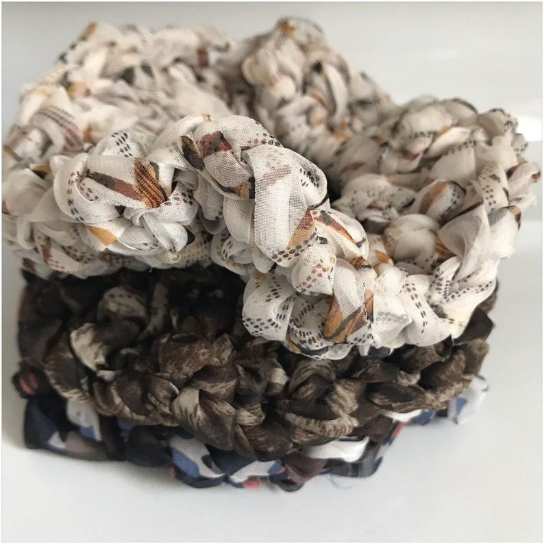 Chiffon Scrunchie Hand Crocheted image 0