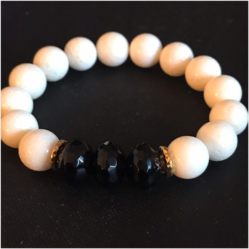 Ying and Yang One of a Kind Beautiful Onyx and White Coral image 0