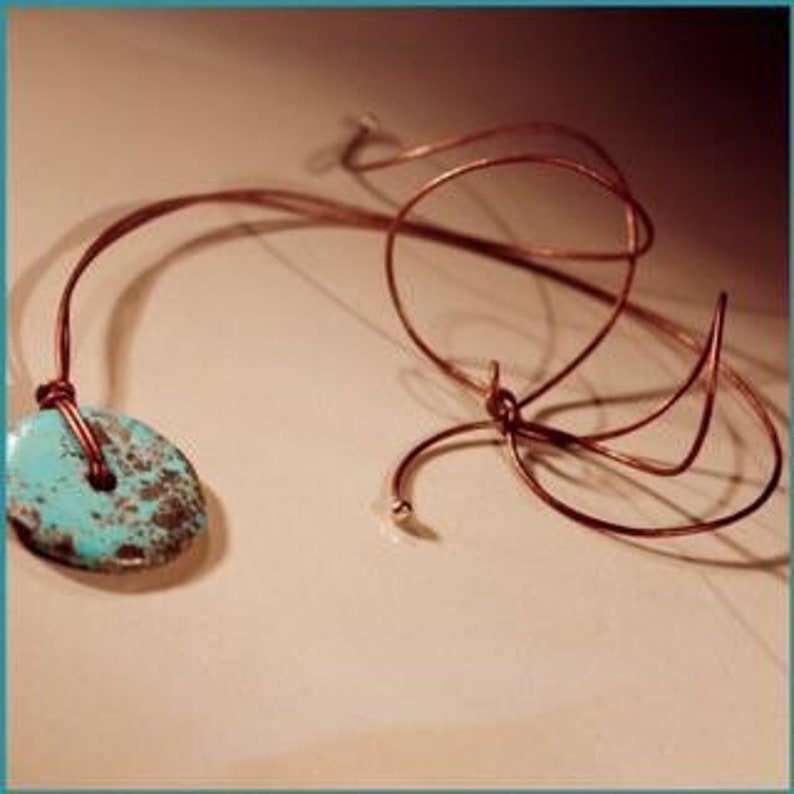 One of a Kind Turquoise Disc Necklace image 0
